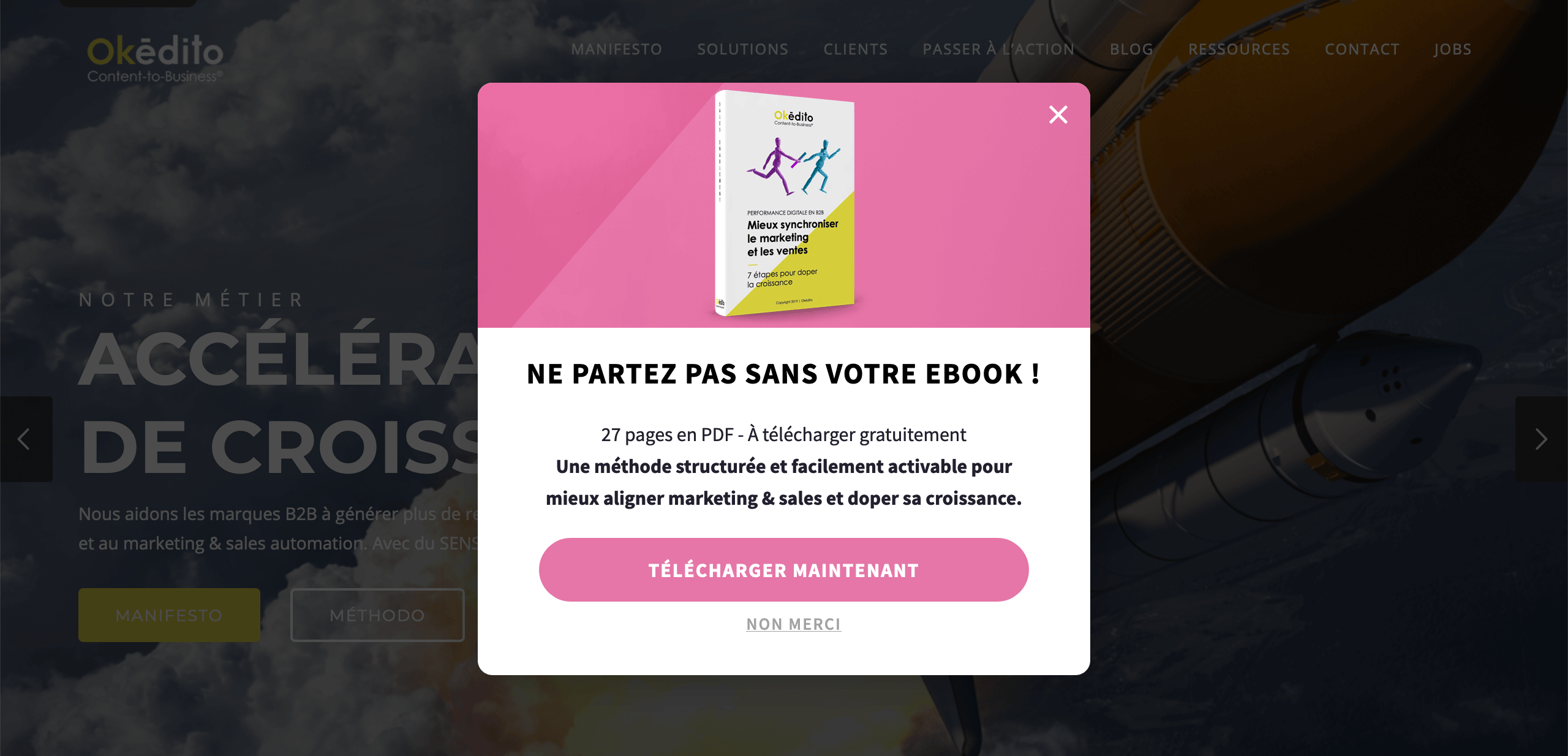 Exemple de call-to-action exit intent avec Okédito