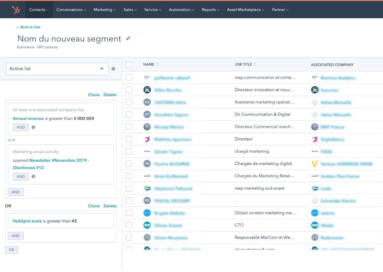 Exemple de filtres pour segmentation avec liste dynamique | Okédito