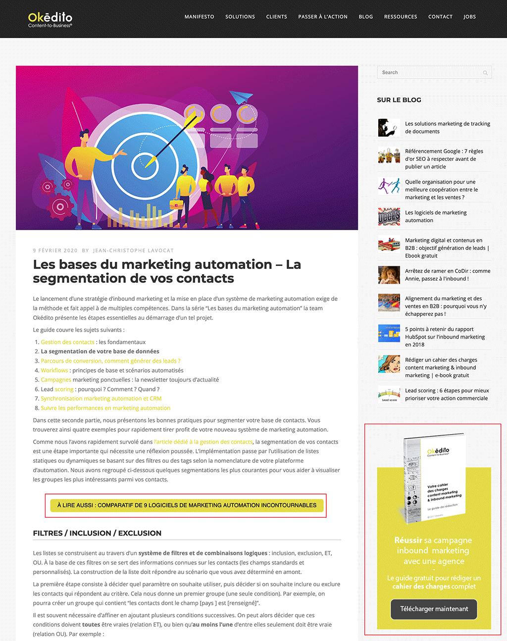 Exemples de calls-to-action dans un article de blog et en sidebar