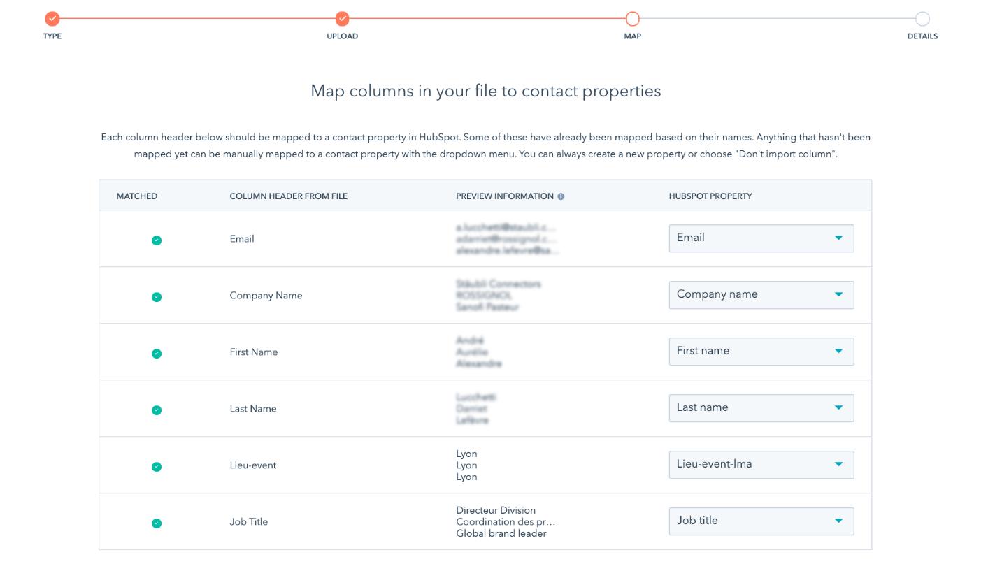 Import des contacts et mapping des champs avec Okédito
