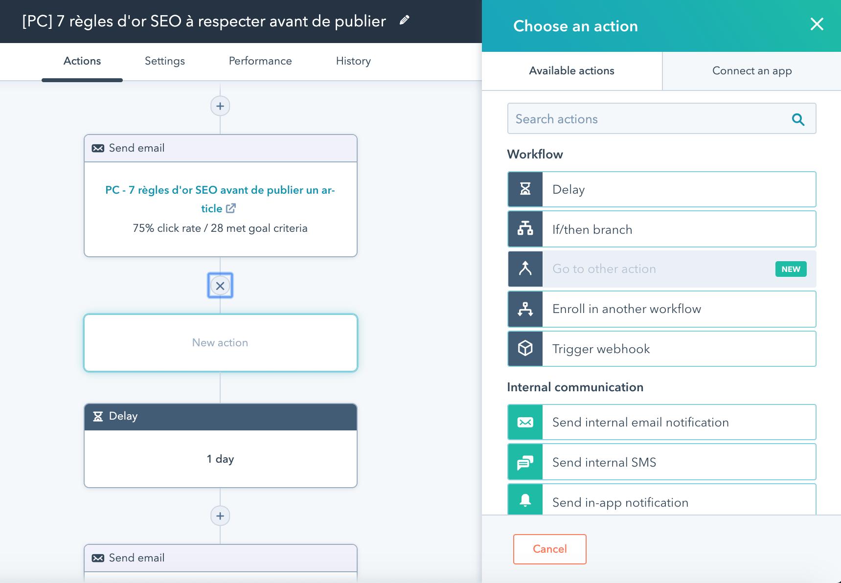 Paramétrage d'une étape de workflow sur HubSpot avec Okédito