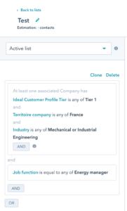 Segmentation par liste dynamique de contacts dans HubSpot