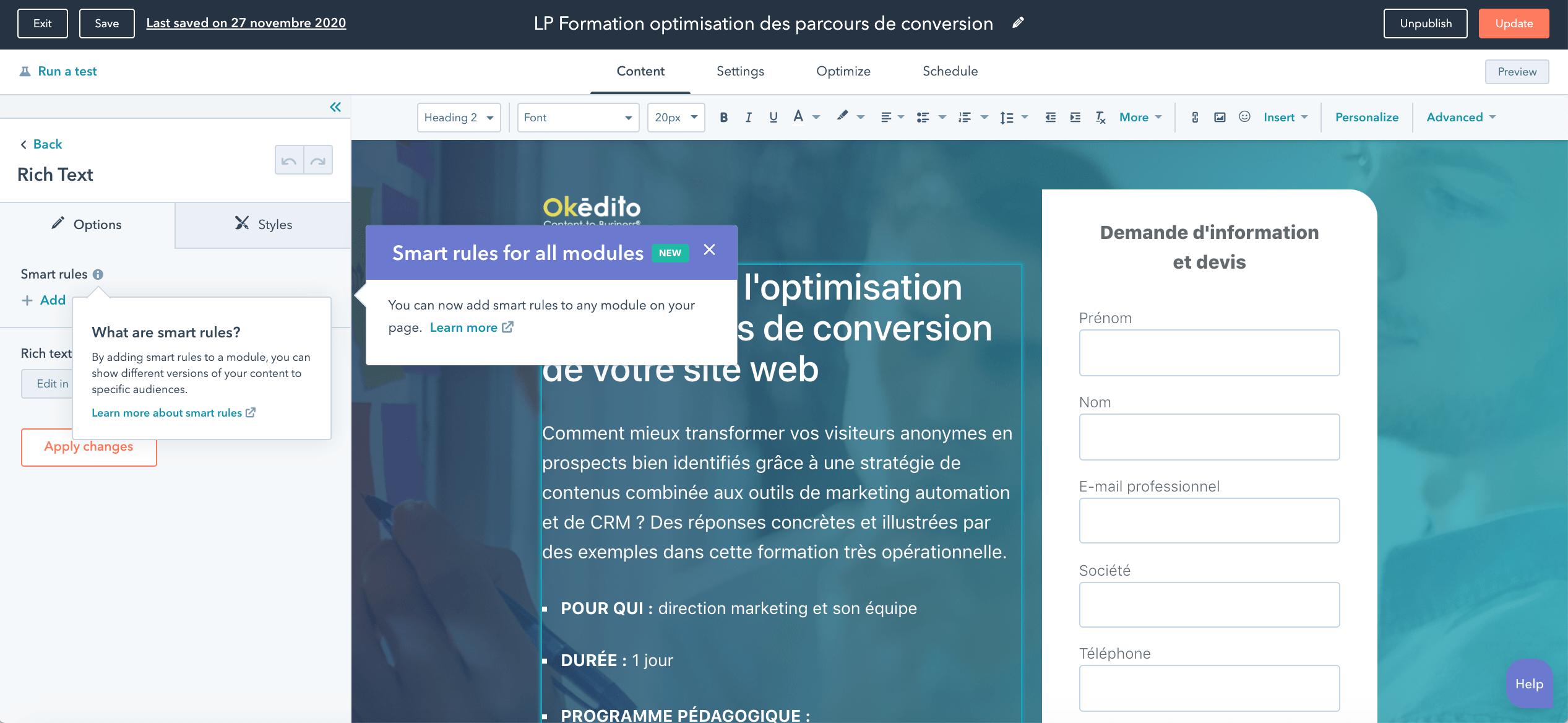 Ajout de règles de contenu intelligent landing page HubSpot