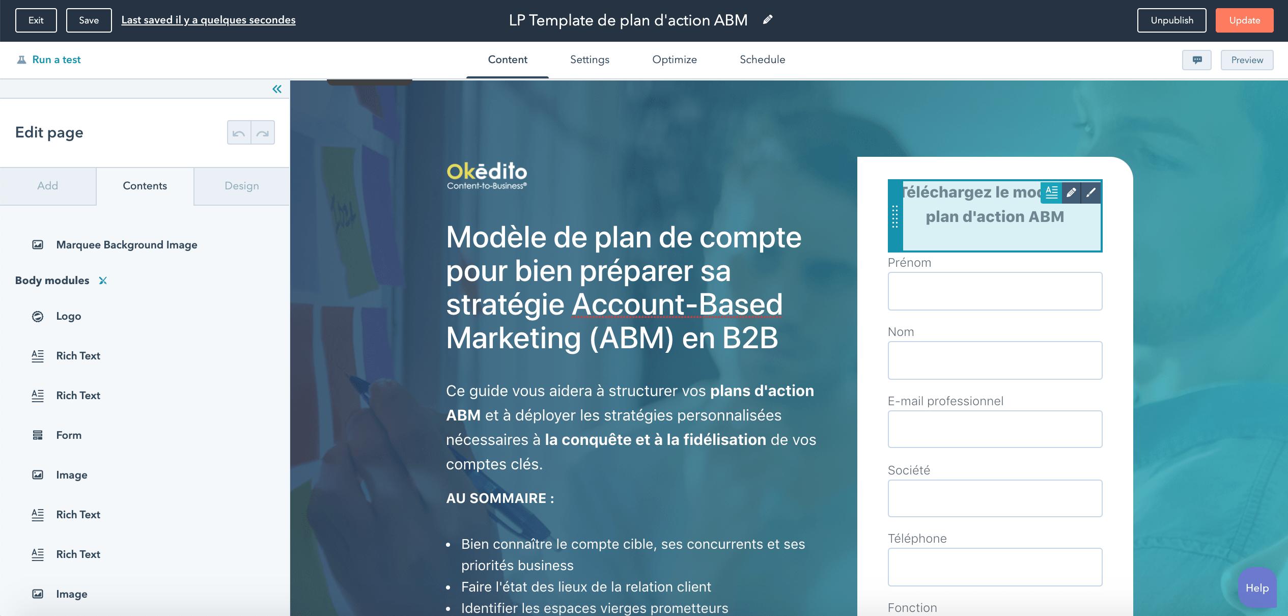 Formation marketing digital : création de landing page avec HubSpot
