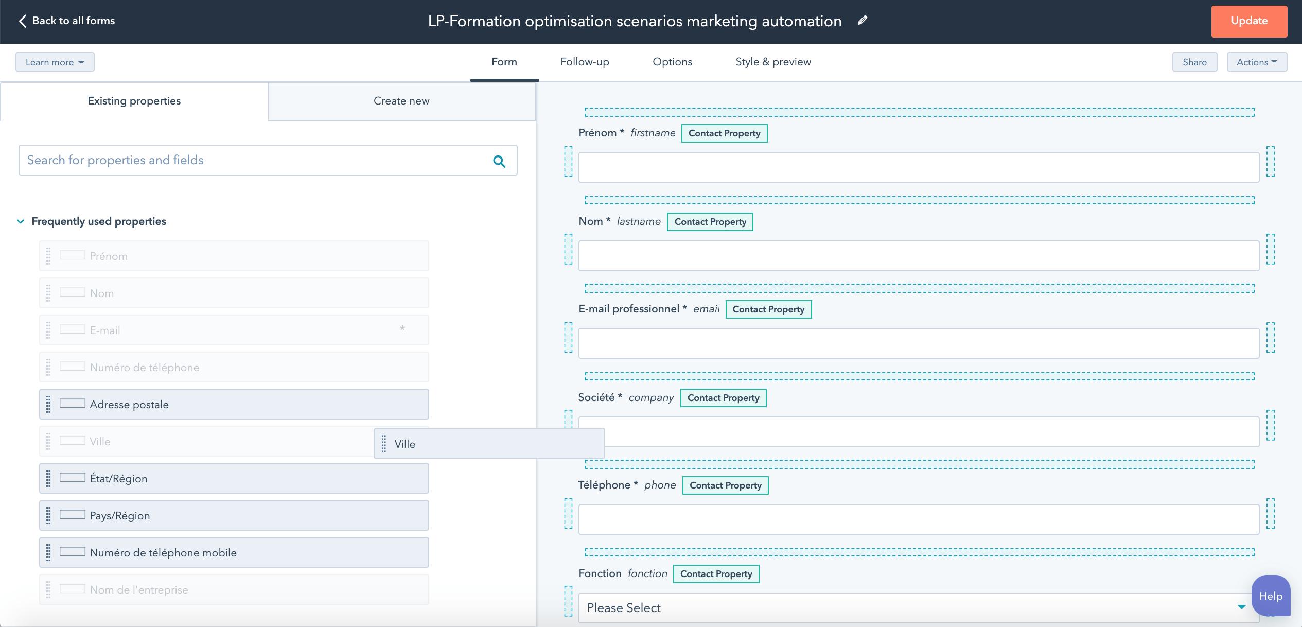 Formation marketing digital : paramétrage des formulaires avec HubSpot